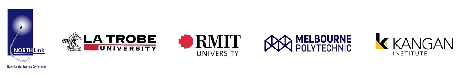 NORTH Link, La Trobe Univeristy, RMIT University, Melbourne Polytechnic, Kanagan Institute logos together